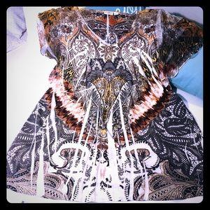 Cato sheer sleeve blouse